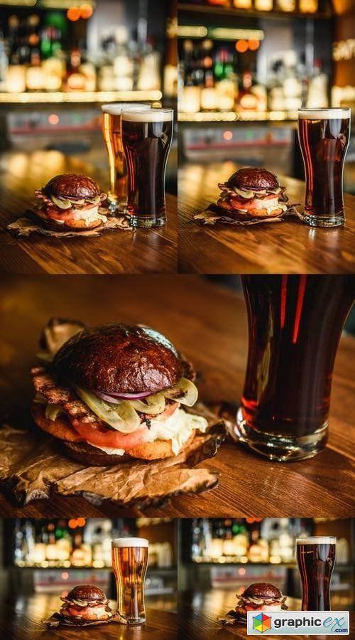 Hamburger and Dark Beer  stock images