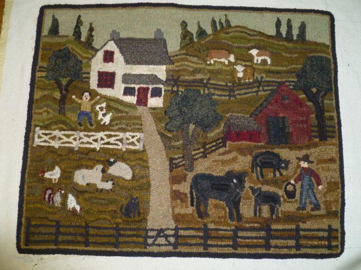 My farm rug hooked by Nancy Z. Parcels