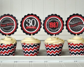 30th Birthday Cupcake Toppers, 30th Birthday Decoration, 30th Birthday Party, 30th Birthday Party Favors, Surprise Birthday Party
