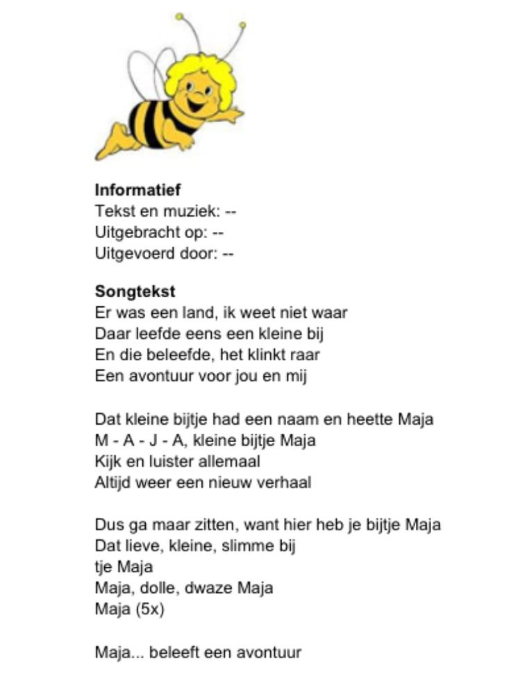 Songtekst Maya de Bij