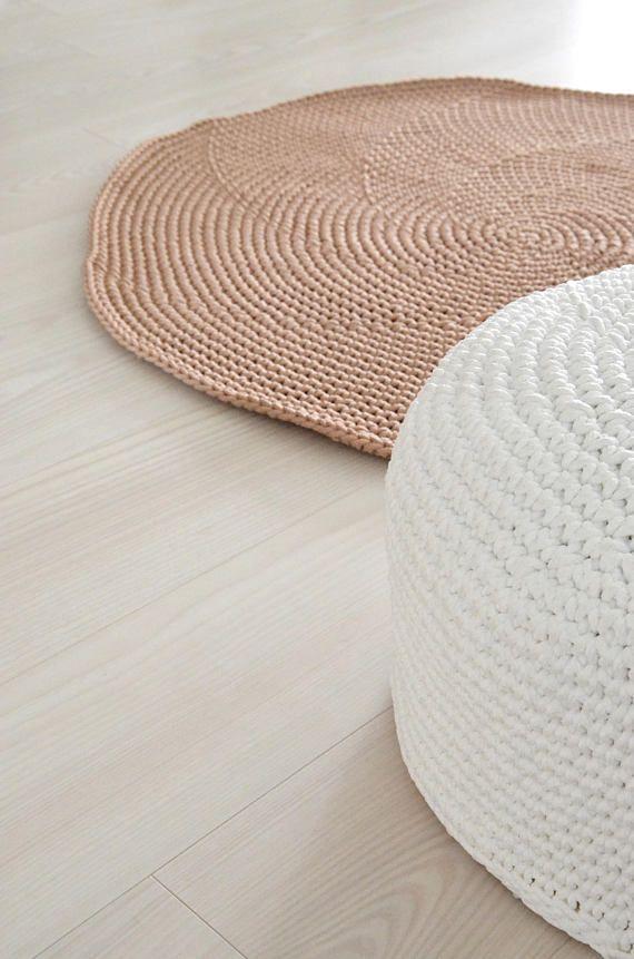 Brown Scandinavian Rug Livingroom Carpet Crochet Round Rug Beige Bedroom Mat Nursery Rug Nursery Decor Scandinavian Rug Round Rugs Beige Carpet Bedroom