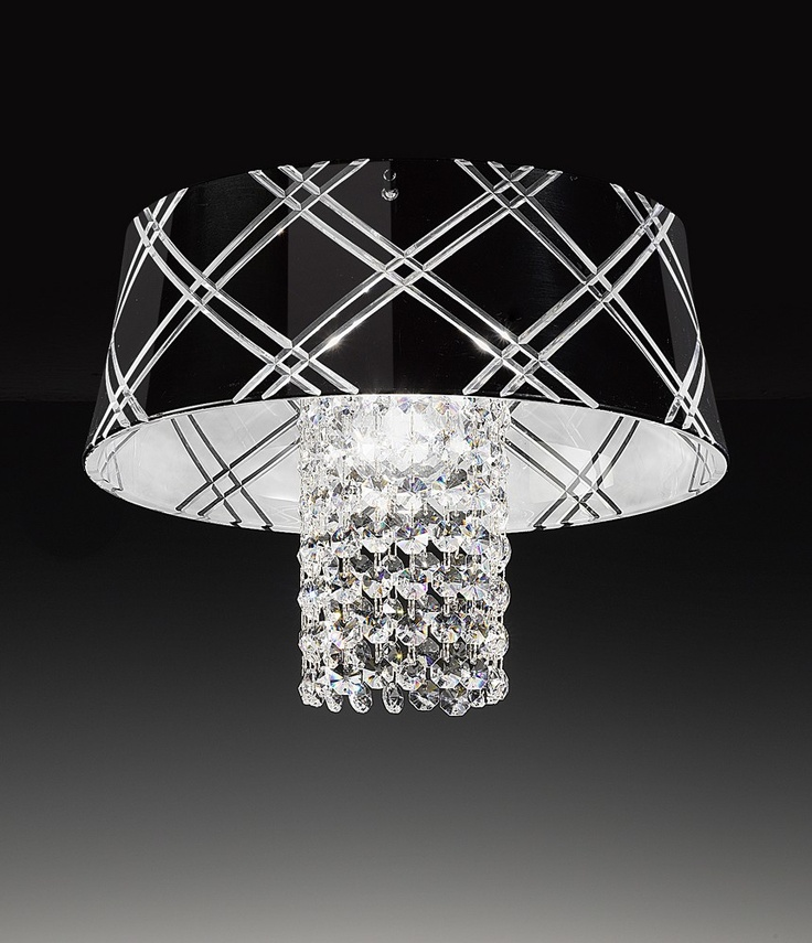 black decorated handcarved glass, crystal pendants    #design #ceiling_lamp #decoration