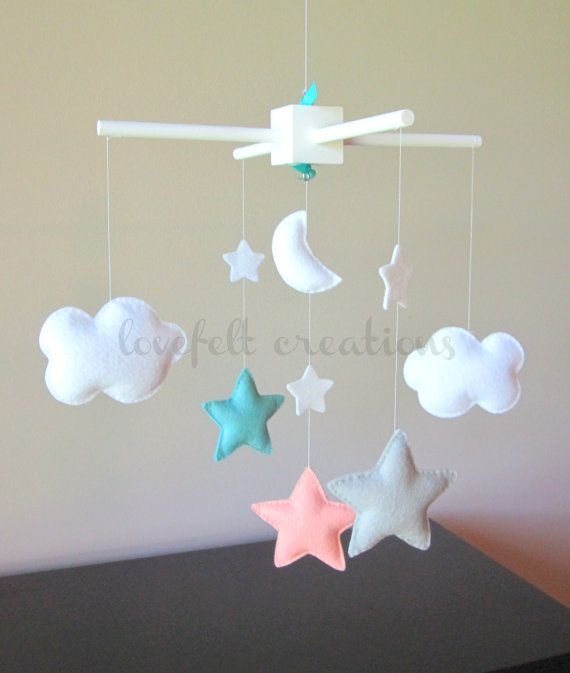 Baby Crib Mobile Baby Mobile Aqua Coral Mobile by LoveFeltXoXo