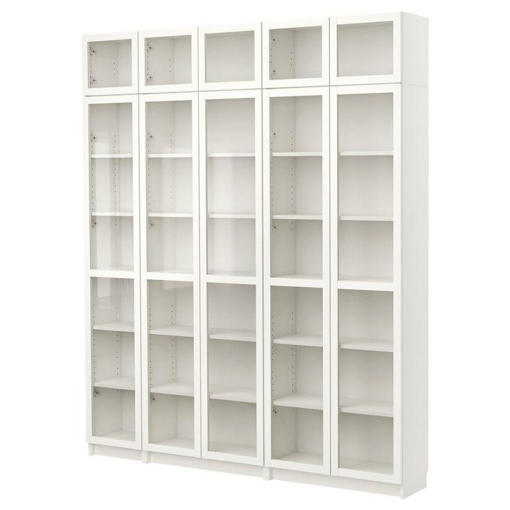 BILLY Bibliothèque avec porte vitrée, blanc 433 € 200x237 cm