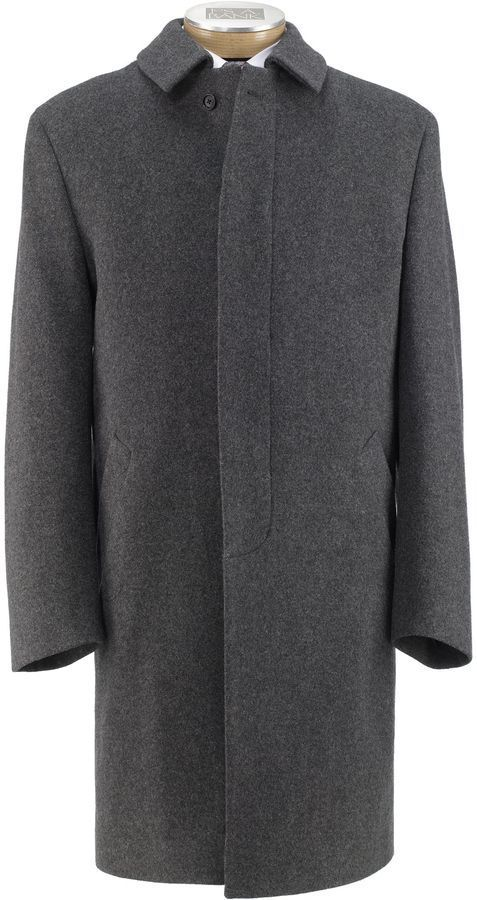 $450, Charcoal Overcoat: Jos. A. Bank Heathered Merino Topcoat. Sold by Jos. A. Bank. Click for more info: https://lookastic.com/men/shop_items/292881/redirect