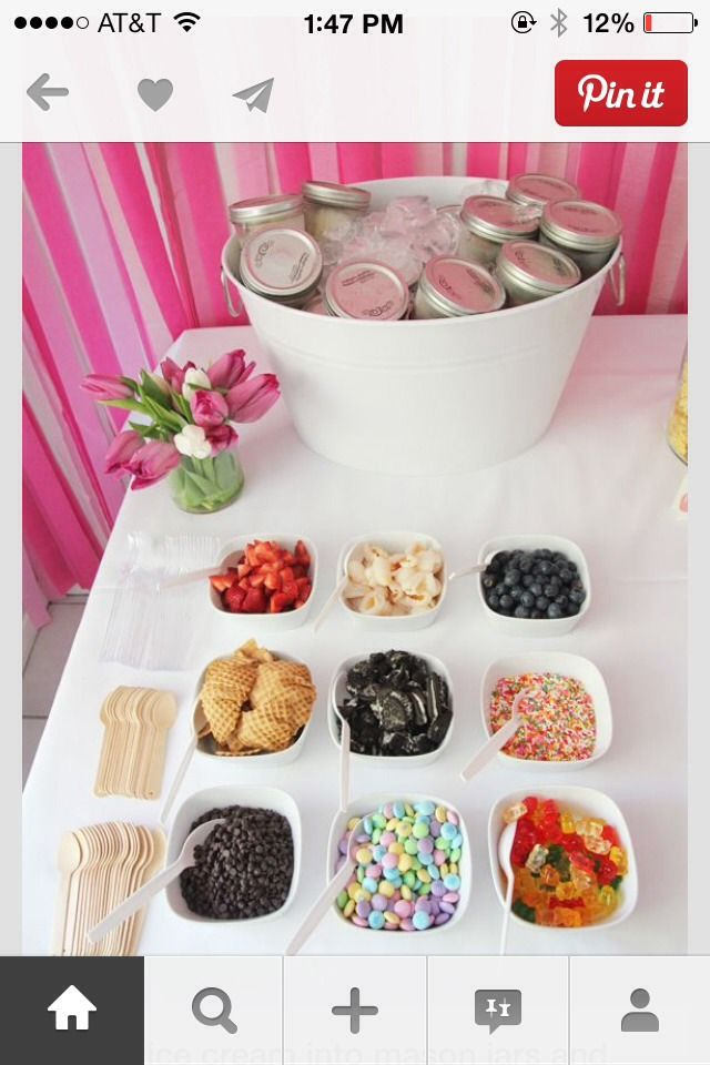Scoop Ice Cream Into Mason Jars. Serve In Ice, I Love This Awesome Sundae Bar.
