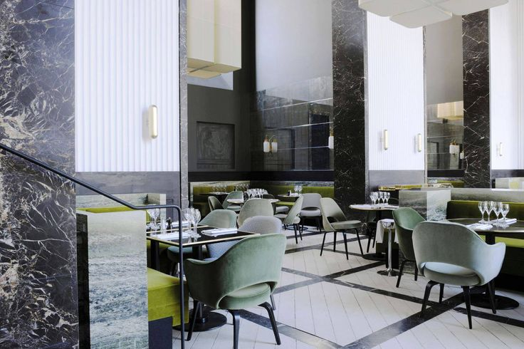 Monsieur Bleu - Palais de Tokyo Restaurant | Mossy velvet green and burnished bronze | Photo credit Adrien Dirand