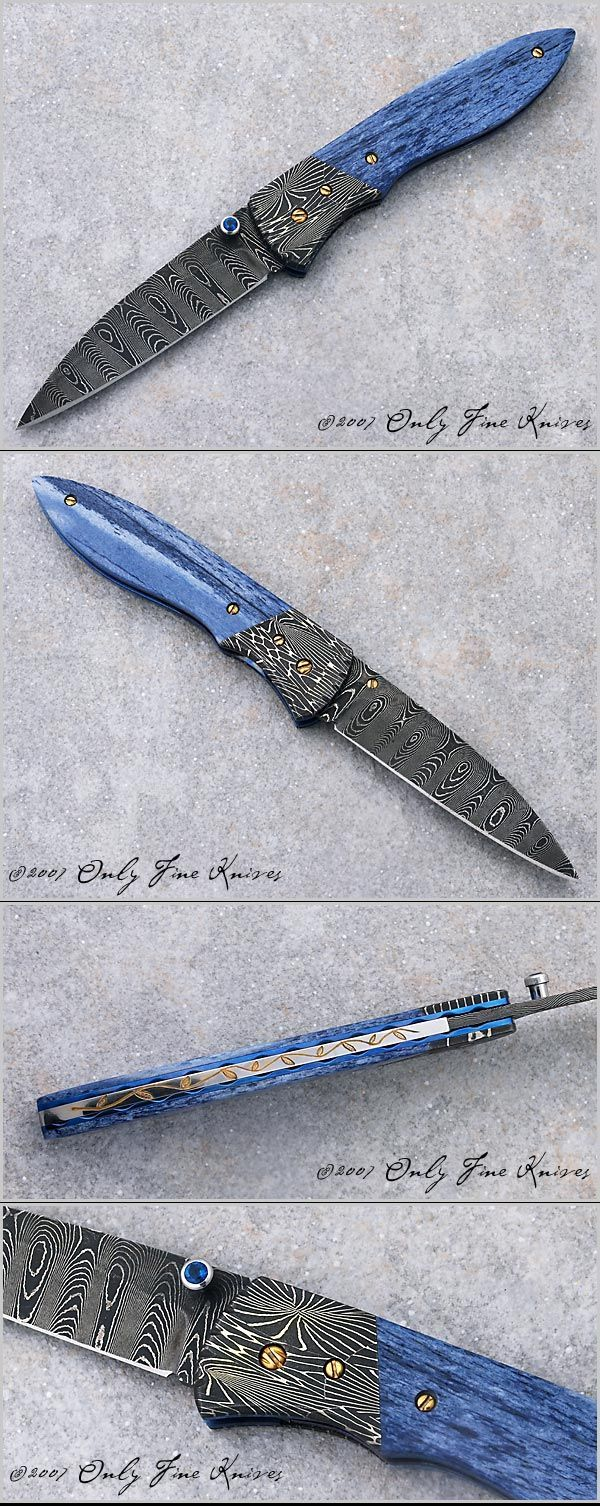 Dan Chinnock, Linerlock with Ladder Damascus Blade, Mosaic Damascus Bolsters, and Dyed Zebra Bone Scales, Only Fine Knives