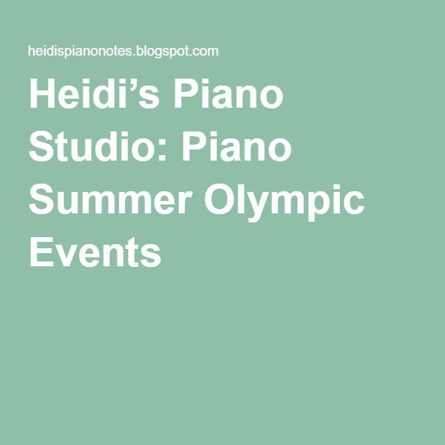 Heidi's Piano Studio: Piano Summer Olympic Events