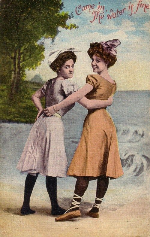 """This postcard is postmarked 1909.  This is two years after professional swimmer Annette Kellerman was arrested at a Massachusetts beach for wearing a one piece suit that bared her knees and arms.  As she put it,  """"I  can't swim wearing more clothes than you hang on a clothesline."""""""