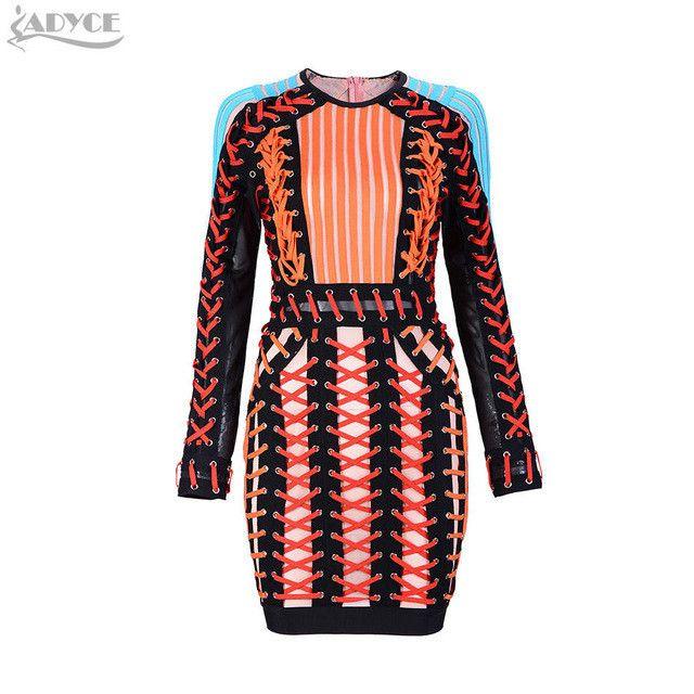 2017 Celebrity Runway Mesh Bandage Dress O neck Black Blue Long Sleeve Orange handmade Cross Winter Dress Women Party Dresses