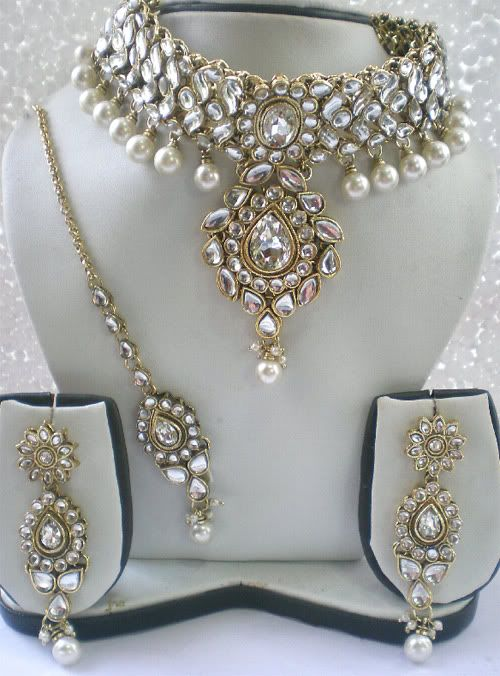 KUNDAN PEARL indian bridal jewellery set