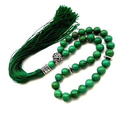 """Четки ручной работы. Ярмарка Мастеров - ручная работа. Купить Четки из иранской бирюзы """"Навстречу жизни""""  зеленые 33 камня с кистью. Handmade."""