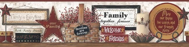 FAMILY AND FRIENDS SHELF PREPASTED WALLPAPER BORDER Country Kitchen Wall Decor #York