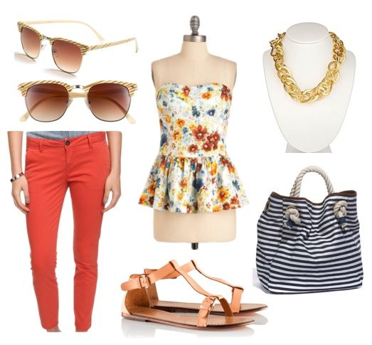 Finding pieces in a fun print or silhouette is awesome! – this shirt has both, as it combines this pretty floral print with a peplum top. Bright pants have been all the rage recently and these bold coral ones would look great with the top. Accessorize the look with a chunky chain-link necklace, some sunglasses, and neutral sandals. Lastly, add on a complementary striped tote to complete the look.