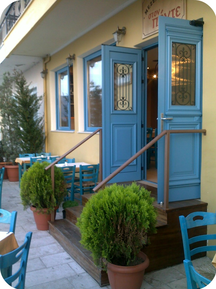 """lovely fachade of the restaurant """"Ston Ponte"""" on the western side of the town"""