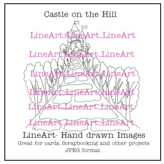 Castle on the Hill  Handdrawn LineArt  Instant by Beauladigitals