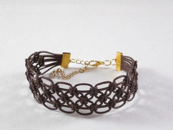 Brown Le24680shepardsondrather Macrame Bracelet by TreasureFlight on Etsy: