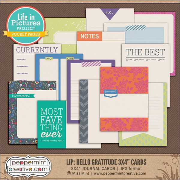 LIP: Hello Gratitude 3x4 Journal & Filler Cards - Peppermint Creative, Digital Scrapbook Supplies  #thanksgiving #fall