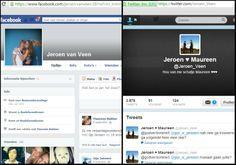 U kunt mijn profiel bekijken op Facebook (https://www.facebook.com/#!/jeroen.vanveen.58) of Twitter (https://twitter.com/Jeroen_Veen).