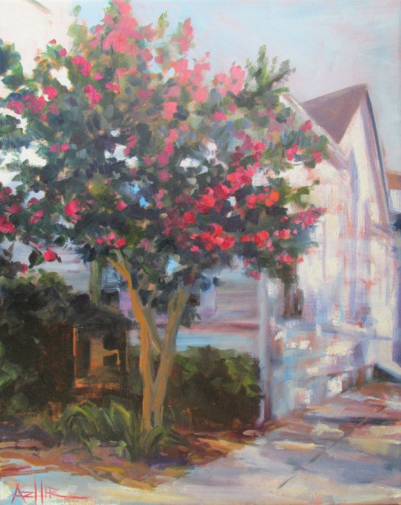 Crepe Myrtle Tree Painting by ArtistAddie on Etsy