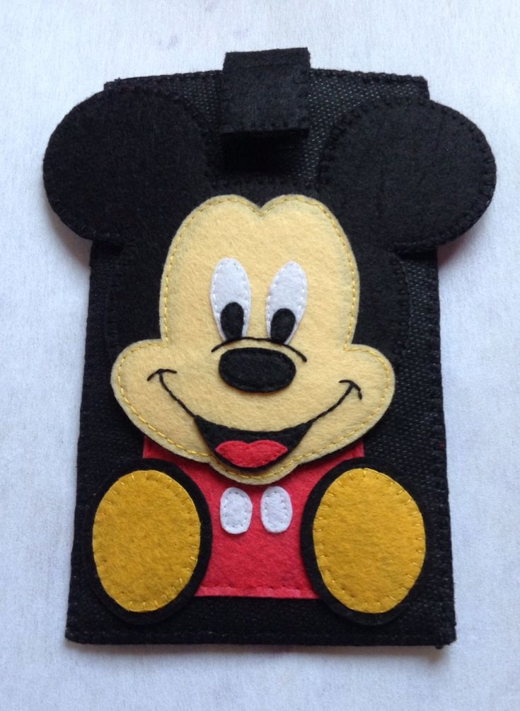 100% handmade mickey mouse phone case made of felt cloth for design and soft fabric for case..