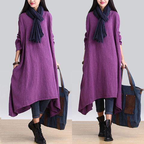 Femmes Casual lâche robe à manches longues de lin irrégulière raccord - Buykud