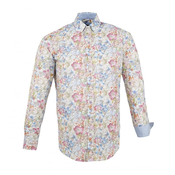 Guide London Multi Flower Print Long Sleeve Shirt