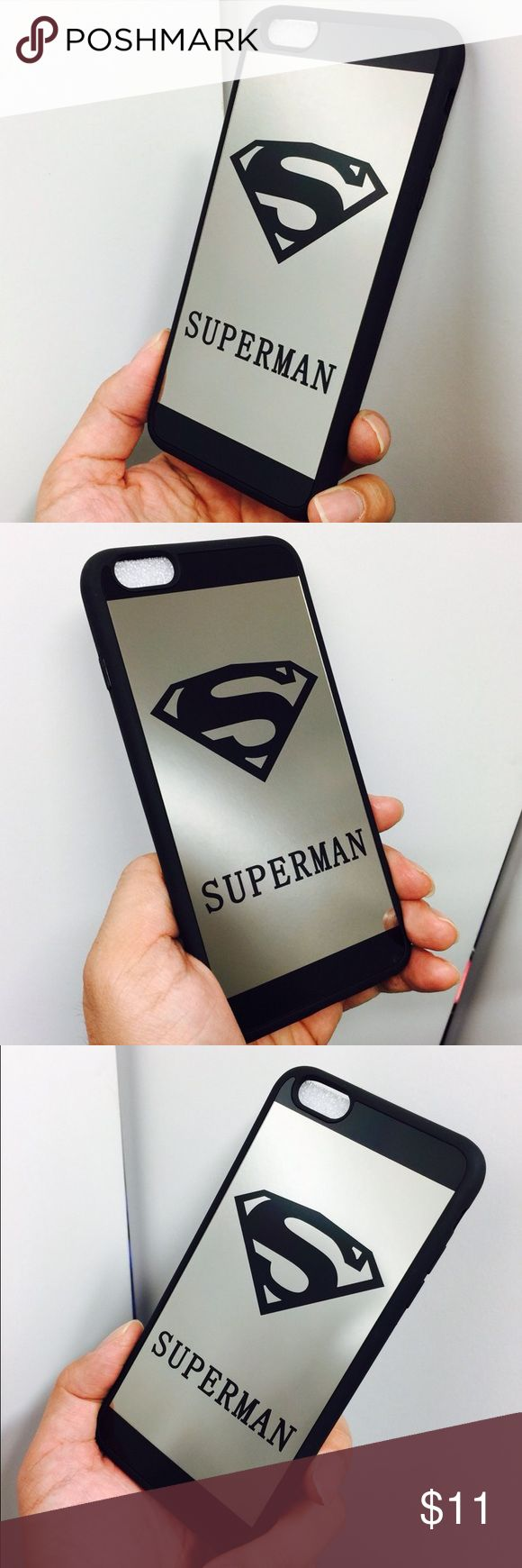 "Shockproof Superman hybrid mirror case i6/6s Shockproof Superman hybrid mirror case i6/6s Brand new high quality shockproof and anti-drop Superman mirror case on sale!  Compatible Size: iPhone 6 & 6s  Color : Black Please make sure you are purchasing the right size case.  This case is also available for iPhone 6 Plus / 6s Plus. Please leave me a message if you need the case for iPhone 6 Plus / 6s Plus, 5.5"". Accessories"