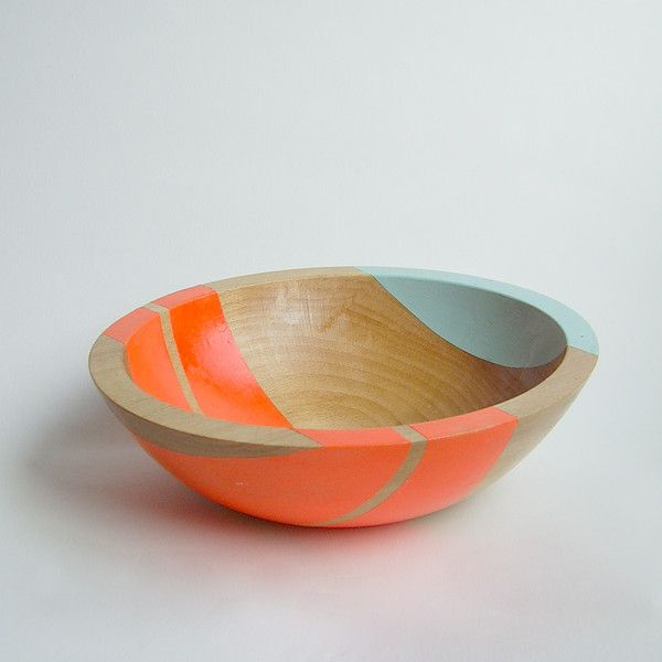 "Modern Neon Hardwood 7"" Salad Bowl, Electric Orange - Something About Tangerine + Blue + Wood is enticing to me"