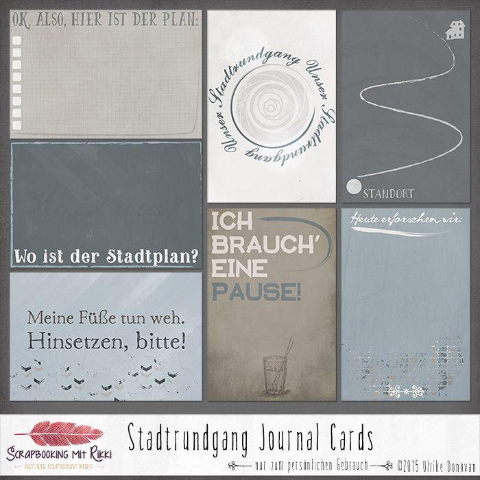 Acht deutschprachige Journaling Karten zum Thema Stadtrundgang.