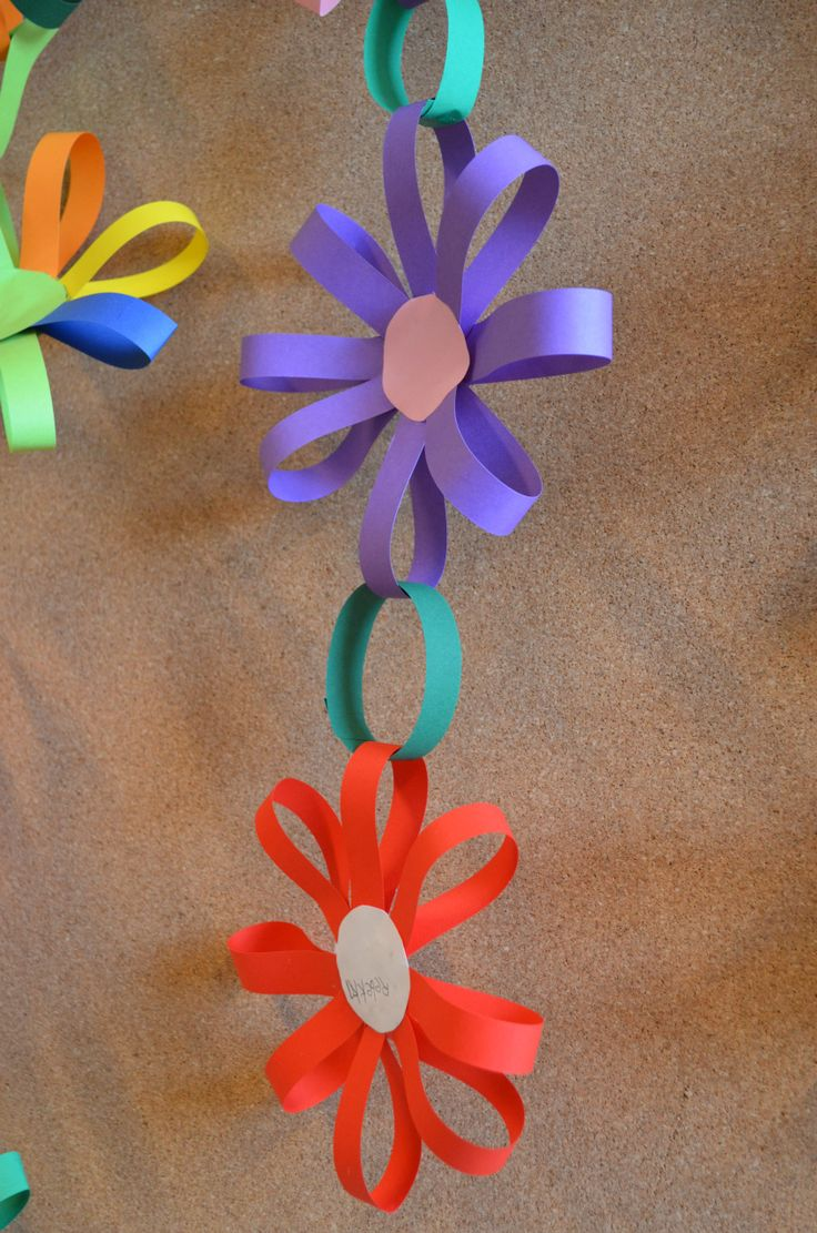 Room decoration with paper cuttings - How To Make A Flower Shaped Paper Chain Chain Chain Daisy Chain All The Pretty Flowers