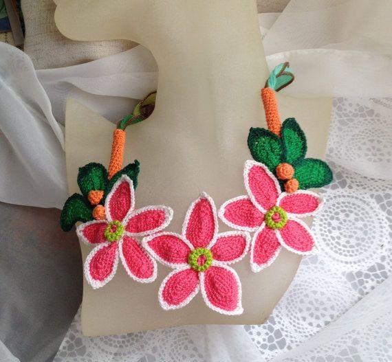 Free form crochet necklace Fantasy garden flowers by FiBreRomance