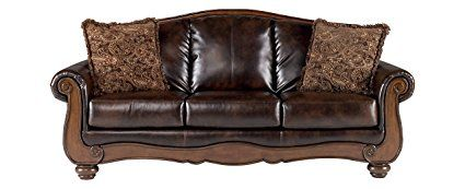 Ashley Furniture Signature Design - Barcelona Sofa with 2 Accent Pillows - Traditional with Faux Leather - Antique