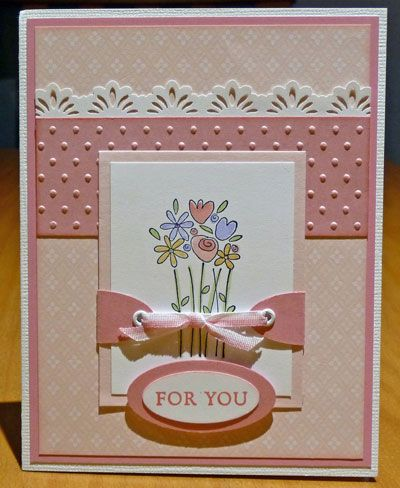 lovely handmade card ... soft peachy pinks and cream ...lots of layers ... like this layout ...