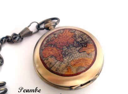 Otros - Alrededor del Mundo - Hombres reloj de bolsillo - hecho a mano por PENMBE en DaWanda