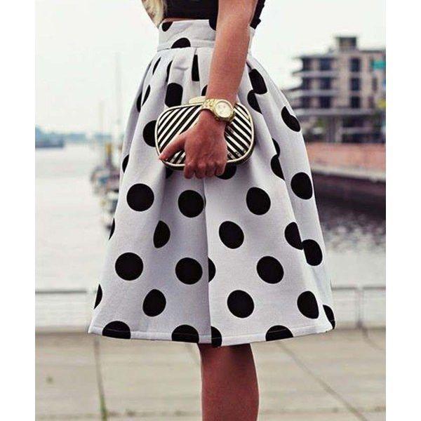 Vintage High-Waisted Polka Dot Ruffled Skirt Super Cute High Waist Polka Dot…