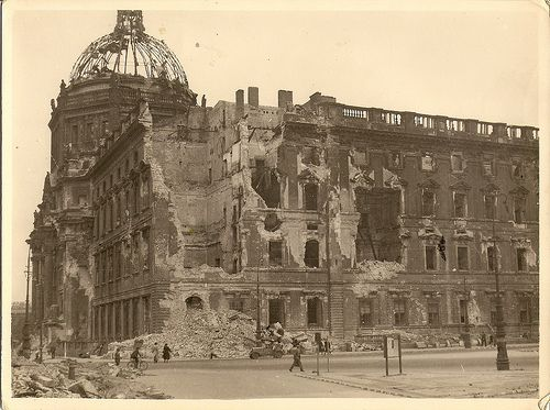 "Summer 1945 - ""A Walk Down Unter Den Linden"" - One of a series of photographs taken by a British Royal Engineer of the 7th Armoured Division a.k.a. ""Desert Rats."" Here is the ruins of the Stadtschloß. Even though it was not as damaged as other buildings, it was eventually torn down by the Soviets."