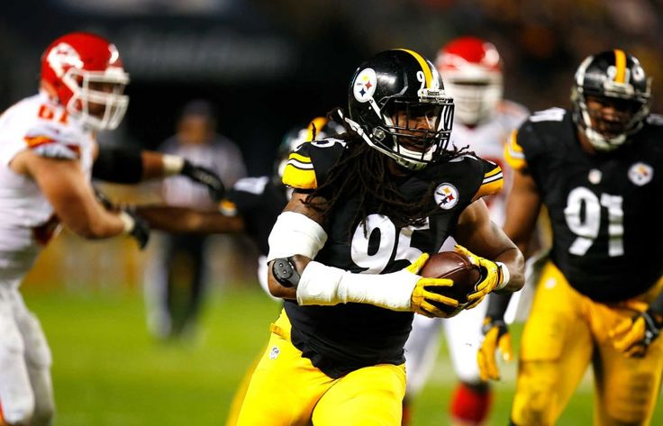 STEELERS 43  -  CHIEFS 14  -     Jarvis Jones of the Pittsburgh Steelers runs up field after intercepting a pass in the first quarter during the game against the Kansas City Chiefs at Heinz Field on Oct. 2, 2016 in Pittsburgh.