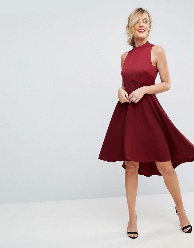 Ted Baker High Neck Dress with Full Skirt - Red