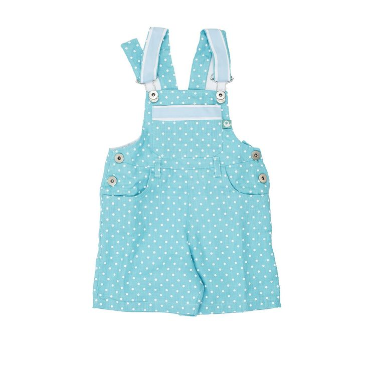 Turquoise Linen Dungarees Shorts from Lace & Ribbons #kids #fashion