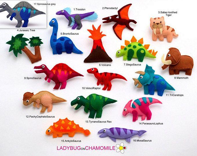 Los dinosaurios sintieron imanes - precio por 1 artículo, imanes de dinosaurios, dinosaurio juguete, T-Rex, Brontosaurio, Raptor, mamut, tigre diente de sable, dinosaurios