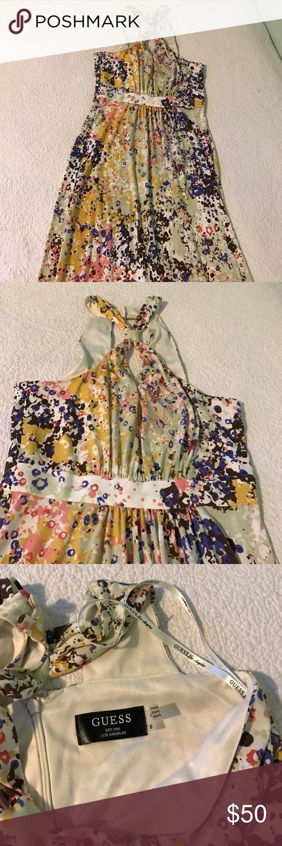 Beautiful print Guess dress Beautiful print guess long dress.  Size 0, worn only once. Guess Dresses