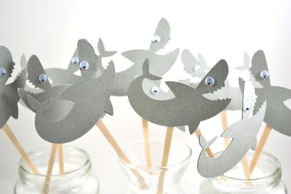 Shark Cupcake Toppers-Shark birthday Party-Shark Party Invitation-Shark Party Decor-Shark Cake Topper on Etsy, $7.65 AUD