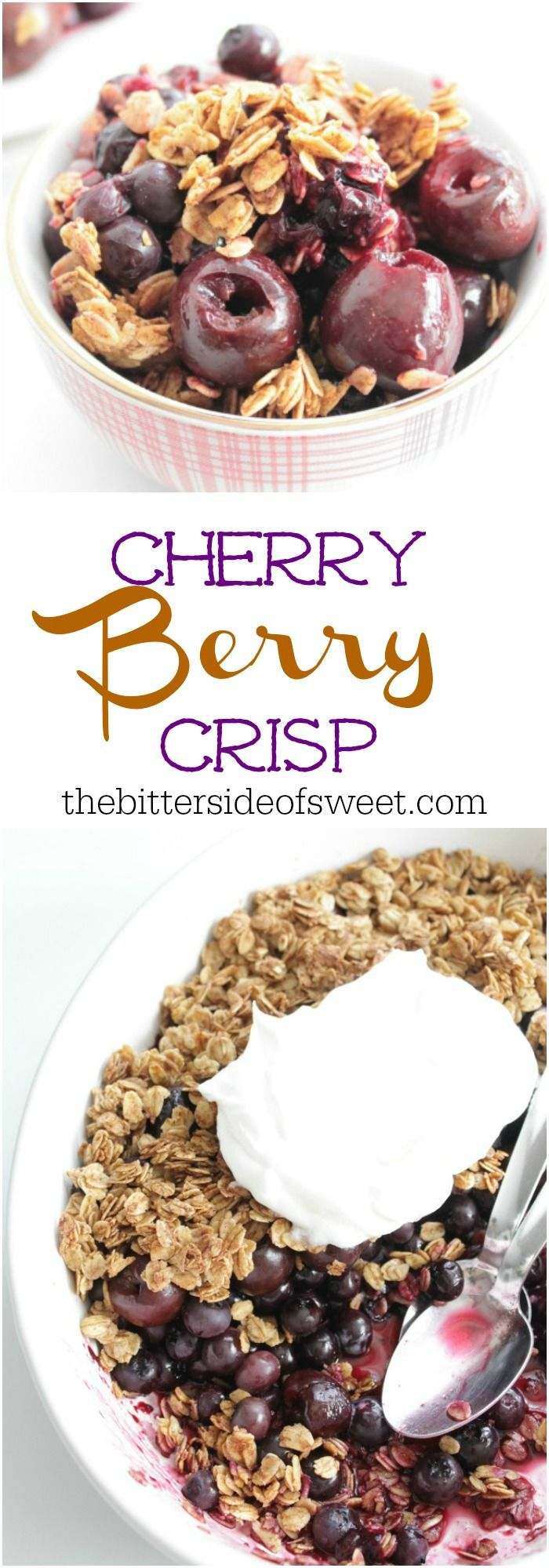 This Cherry Berry Crisp is a perfect way to use seasonal fruit to make a simple dessert! Take berries, honey and oatmeal and you get perfection!