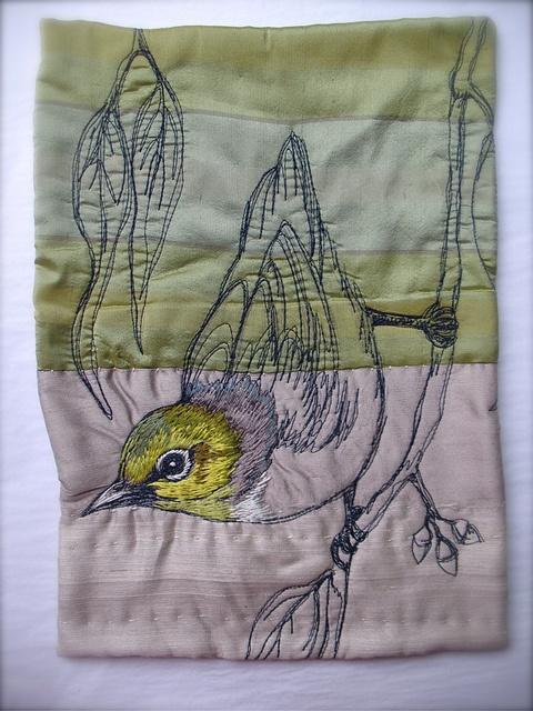 PARIS+TASMANIA embroidered bird panel for Planet Commonwealth- Grey-breasted white-eye by Tara Badcock, via Flickr