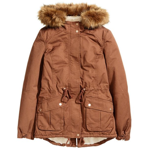 Pilefodrad parkas 199 ($34,990) ❤ liked on Polyvore featuring outerwear, coats, jackets, parka coats, brown coat, h&m parka, brown parka coat and h&m coats