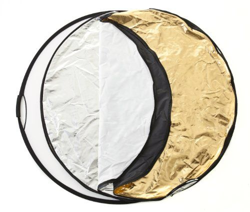 """43"""" (110cm) 5 in 1 Reflector - Silver/Gold/Black/White/Translucent Reflectors with Lighting Disc Reflector Bag and Hand Grips. SeamlessPhoto,http://www.amazon.co.uk/dp/B00K7JIHDQ/ref=cm_sw_r_pi_dp_CRuBtb1SN14XZHDS"""