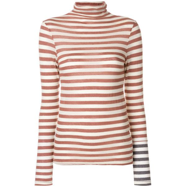 Semicouture Dennis Striped Turtle Neck Tee (240 BRL) ❤ liked on Polyvore featuring tops, t-shirts, brown, multi color t shirts, striped t shirt, brown tee, turtle neck t shirt and striped tops
