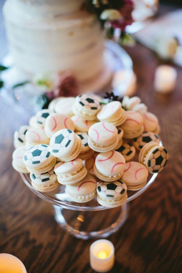 Soccer + baseball macarons: http://www.stylemepretty.com/2016/02/26/al-fresco-scottsdale-wedding-stunning-two-piece-dress/ | Photography: Paige Jones - http://paigejones.us/